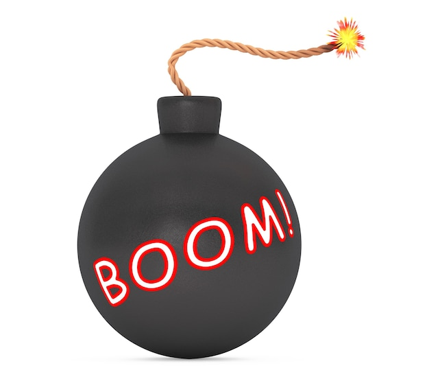 Boom sign black bomb with wick on a white background. 3d rendering