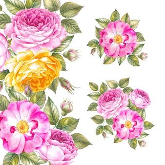 活気のあるバラの花輪。