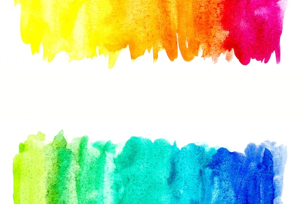 Border of abstract watercolor art hand paint on white background.