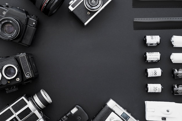Border of film and vintage cameras