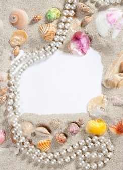 Border frame summer beach shell pearl necklace