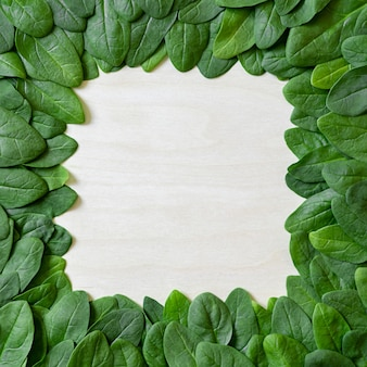 Border of fresh green leaves spinach on a wooden surface.