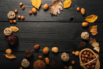 Border from autumn symbols