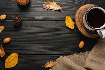 Border from mug and autumn symbols
