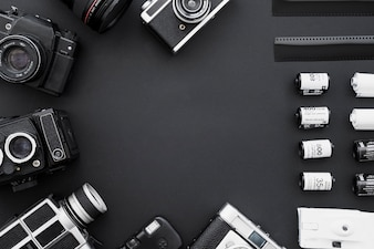 Border of film and vintage cameras