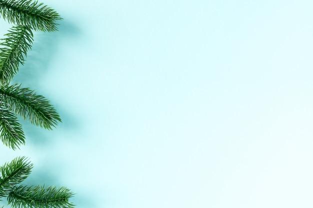 Граница зеленых еловых веток на синем
