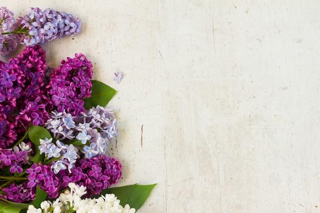 白い老化した木製の背景に新鮮なライラックの花の境界線