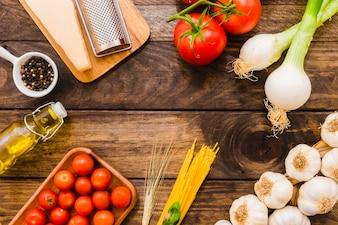 Border of pasta ingredients