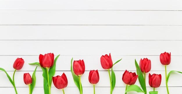 Граница красных тюльпанов на белом деревянном. день матери, день святого валентина, концепция празднования дня рождения. скопируйте место для текста, вид сверху