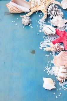 青いテーブルの上の海塩と貝殻の境界線