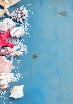 青い木製のテーブルの上の海塩と貝殻の境界線