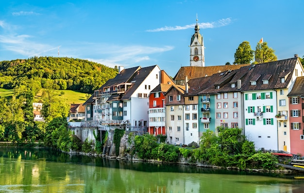 A border town at the rhine river in switzerland