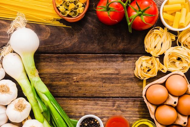 Border of various cooking ingredients
