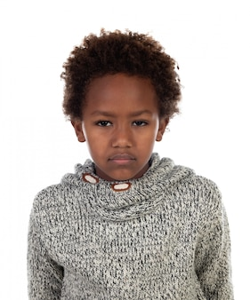 Bored african child with wool jersey