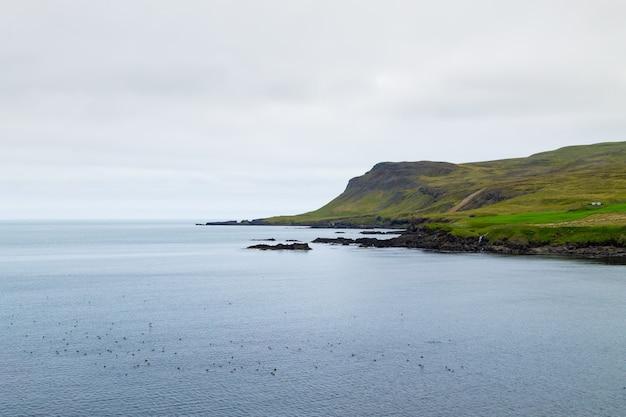 Вид на фьорд боргарфьордур, восточная исландия. исландский пейзаж