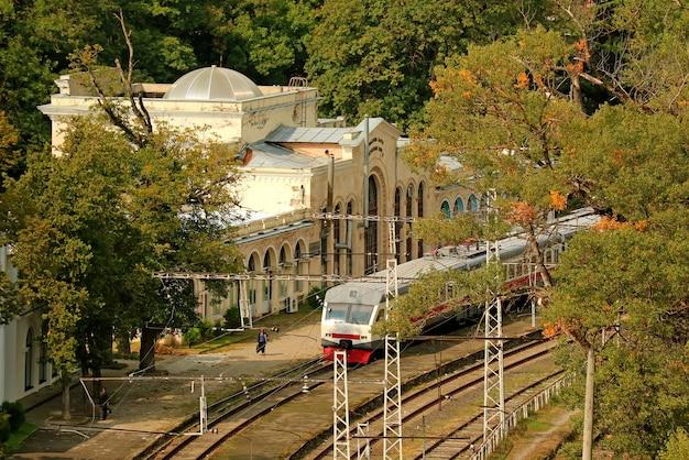 Borjomi-park railway station in autumn, the town of borjomi, samtskhe-javakheti region in georgia