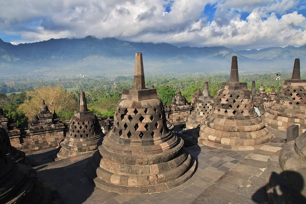 Borobudur, the great buddhist temple in indonesia