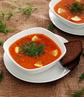 Borsch soup and rye bread