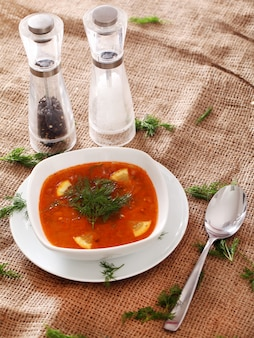 Borsch soup, salt, pepper and a spoon