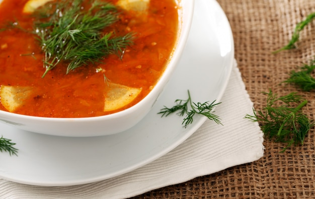 Borsch soup with dill