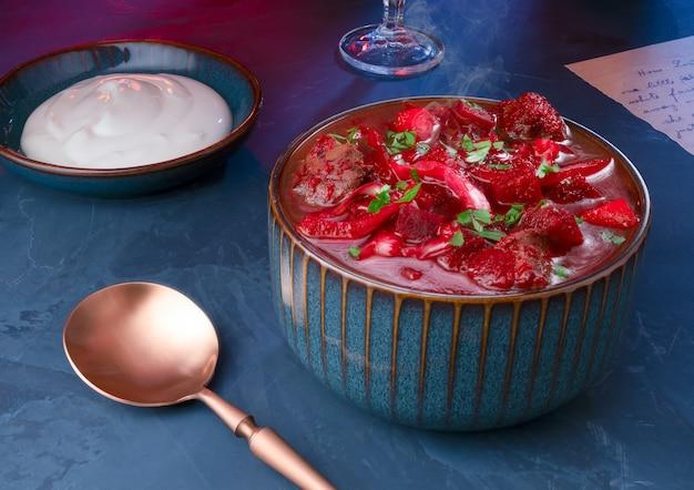 Borscht - traditional russian beet soup (borsch)