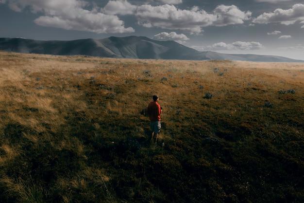 Borzhavsky range carpathians ukraine mountain landscape guy on a background of mountains