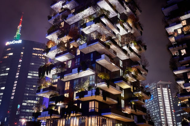 Bosco verticale, vertical forest, modern condo with trees growing on balconies