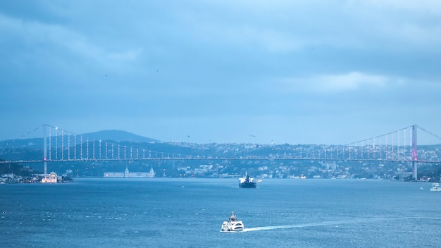 Пролив босфор с плавающими в нем кораблями и освещенный мост над водой, туман, пасмурная погода, стамбул, турция