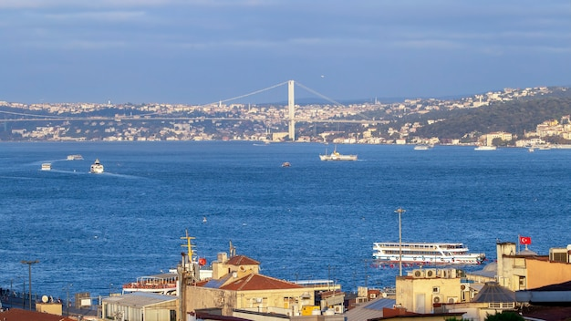 Bosphorus strait with ships floating in it and a bridge over the water, buildings on the foreground in istanbul, turkey