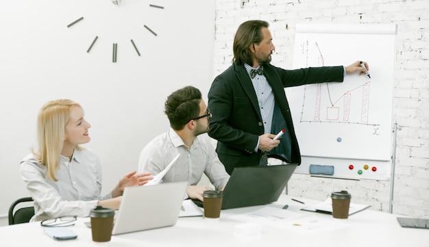 上司のビジネスマンは、新しいビジネスアイデアをチームに提示するホワイトボードの近くに立っています。同僚がオフィスの机に座ってスピーカーを聞いています。