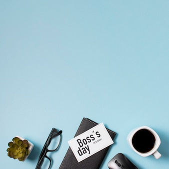 Boss's day composition on blue background with copy space