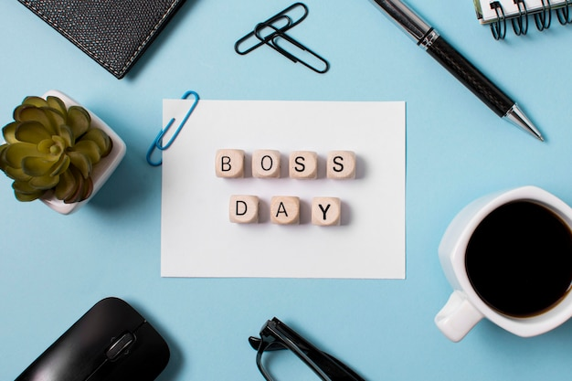Boss's day composition on blue background