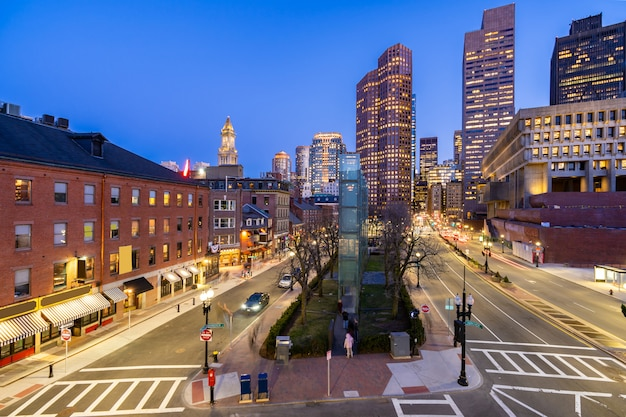 Boston downtown cityscape sunset