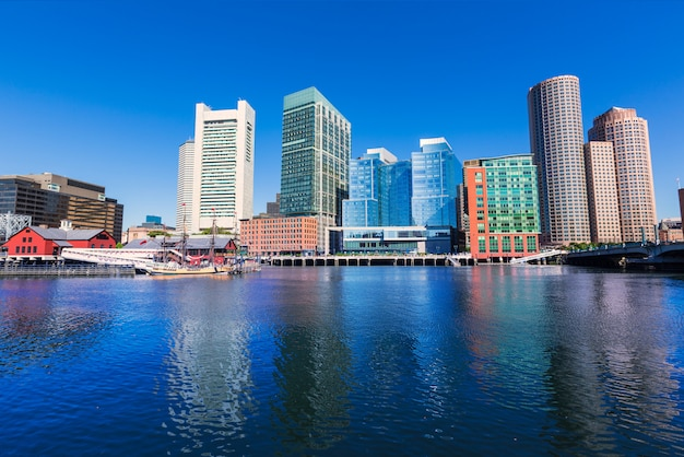 Boston skyline from fan pier sunlight massachusetts