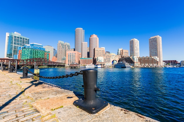 Boston skyline from fan pier sunlight massachusetts