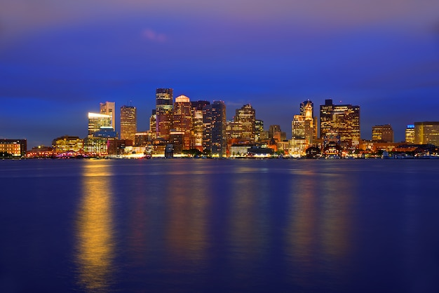 Boston skyline at sunset and river in massachusetts