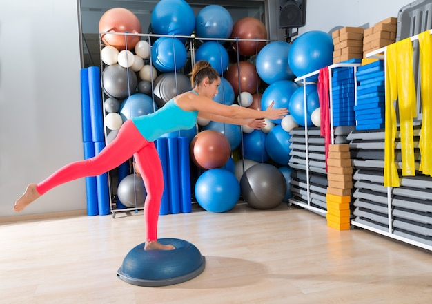 Bosu one leg extension deadlift girl exercise