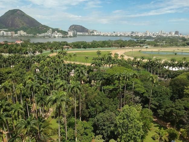Ботанический сад рио-де-жанейро. аэрофотоснимок дрона. рио-де-жанейро, rj, бразилия.