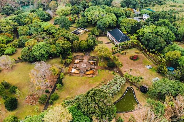 Botanical garden on the paradise island of mauritius