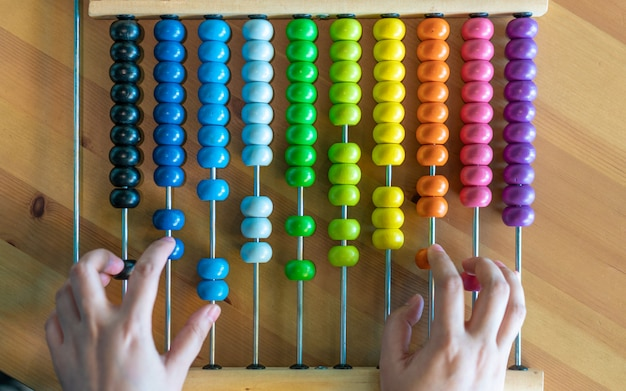 Both hands counting on abacus