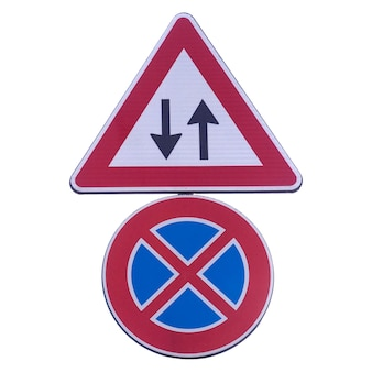 양방향 및 주차 금지 흰색 위에 절연 정지 신호 없음 프리미엄 사진