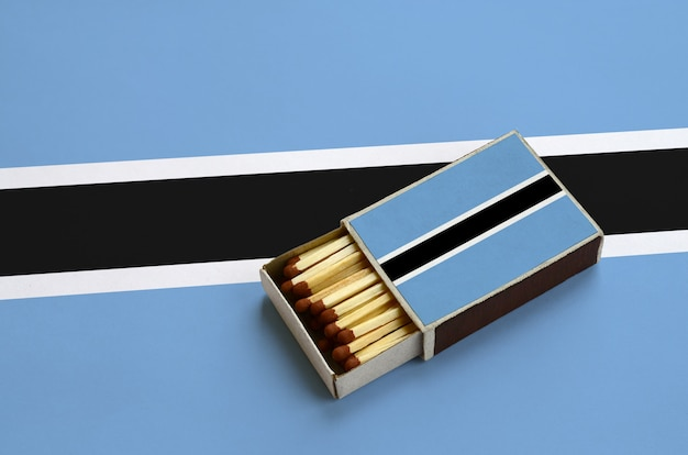 Botswana flag  is shown in an open matchbox, which is filled with matches and lies on a large flag