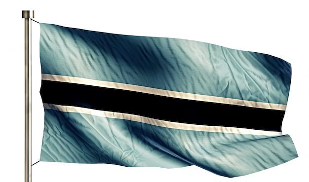 ボツワナの国旗は、3dの白い背景を分離