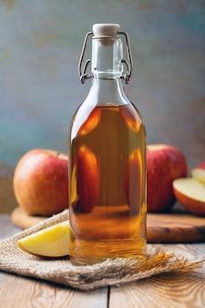 Bottle of apple organic vinegar or cider.