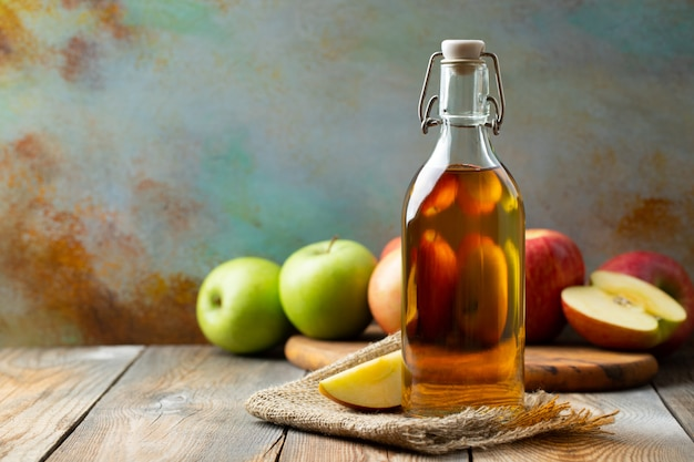 Bottle of apple organic vinegar or cider.