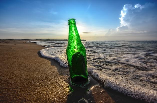 Bottle beer on the beach