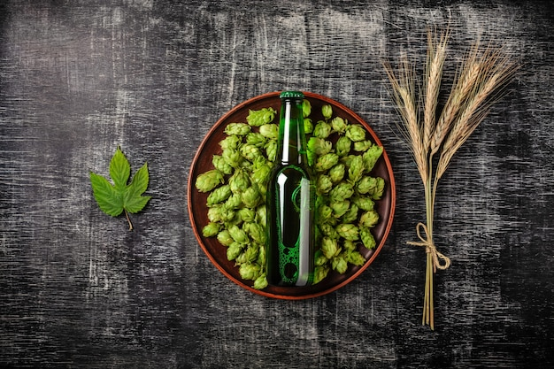 A bottle of beer on a green hop in a plate with spikelets and hop leaf of wheat against the background of a black scratched chalk board