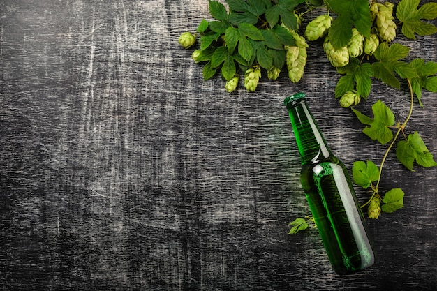 A bottle of beer with a bunch of fresh green hops on a black scratched chalk board