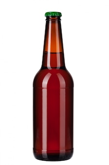Bottle of dark beer isolated on white