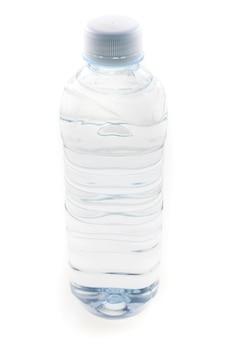Bottle of drinking water on white background.